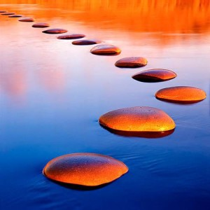 Stepping stones provide a safe passage through deep water